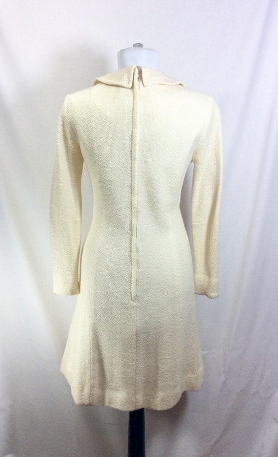 1960s Wool Ivory Minidress with Peter Pan Collar … - image 5