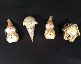Vintage 1960's gold cream burlap brocade elf elves, ice cream cone dog house Christmas tree ornaments