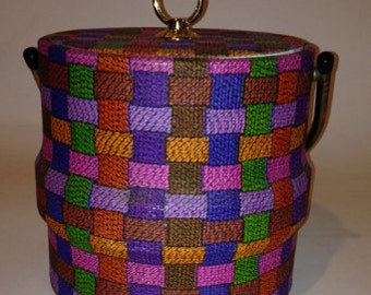 Vintage Ice bucket knitted or crochet look party bar or barware
