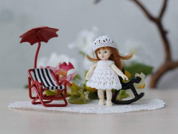 Puppenhaus Puppe Häkeln Weißen Kleid Hut Häkeln Sie Kleidung Etsy