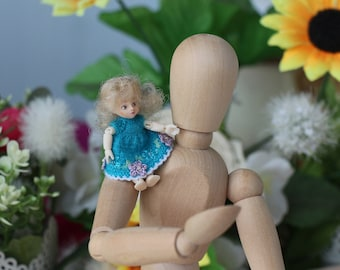 Nano Fairy doll 2 inch Micro knitted turquoise dress Dollhouse dress Petite clothing miniature dolls 1-inch dress Blue fairy doll