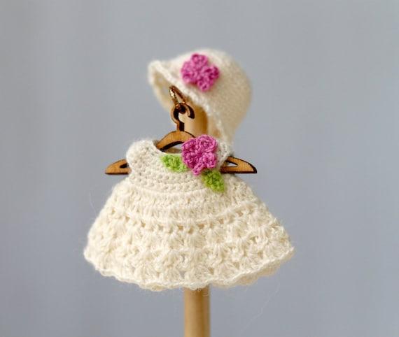 Puppenstuben Puppe Häkeln Weißen Kleid Und Hut Häkeln Sie Etsy