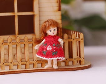 Micro knitted 2 inch doll Christmas red dress Nano BlueFairy doll, petite clothing collectible dolls, dollhouse clothes, small doll dress
