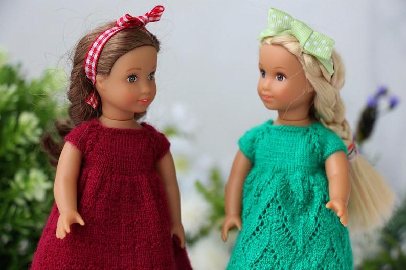1264619a721c84 Amerikaans meisje mini jurkje Hand gebreide Magenta jurk