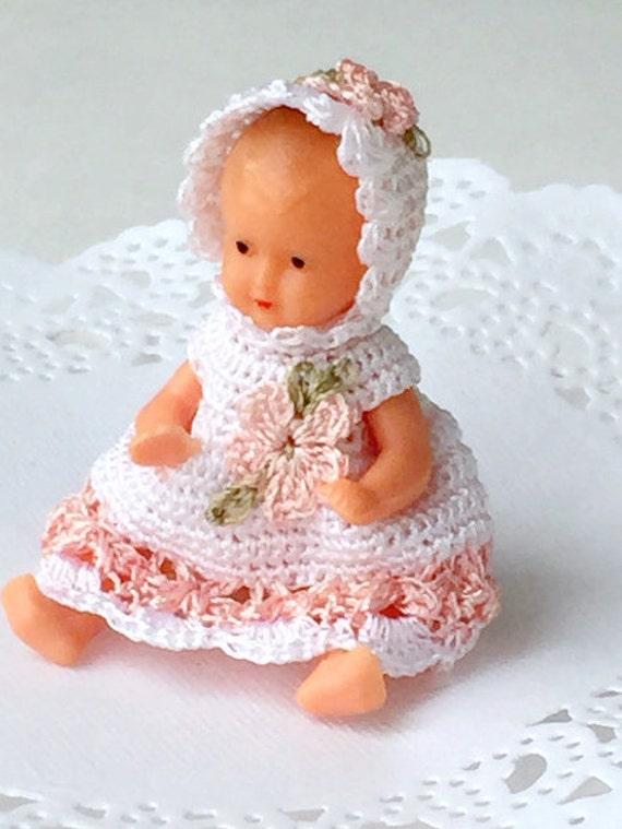 De Kleren Van De Pop Van De Baby Van De Miniatuur Haak Witte Etsy