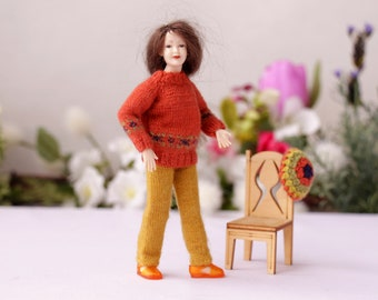 Heidi Ott  lady doll Hand knitted sweater pants Dollhouse women clothes 1:12 scale Miniature dollhouse clothes Miniature knit for mini doll