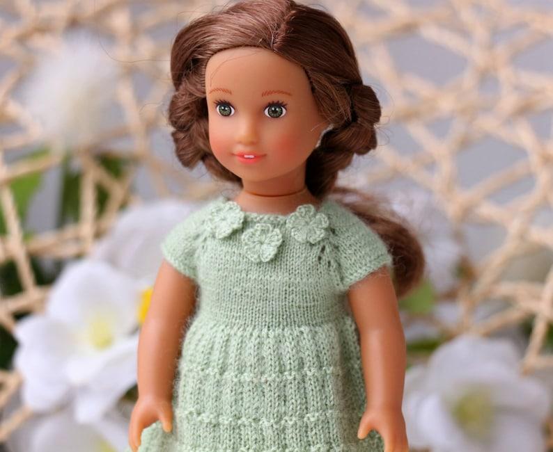6dbee4754a49f0 Amerikaans meisje mini jurk Hand gebreide groene jurk 6 inch