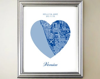 Venice Florida Map.Florida Heart Print Etsy