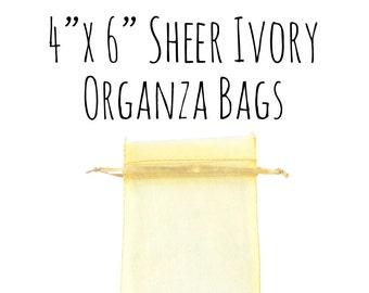 "10 or 25 Pack of 4 x 6"" Rectangle Sheer Ivory Drawstring Ribbon Organza Bags, Wedding Favor Bags, Gift Bags, DIY, Cream Bag, Wedding Supply"
