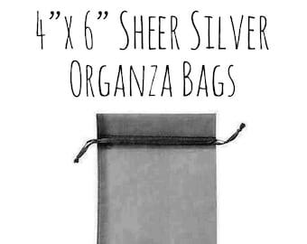 "10 or 25 Pack of 4 x 6"" Rectangle Sheer Metallic Silver Organza Bags, Wedding Favor Bags, Sheer Drawstring Ribbon Bag, DIY Wedding Supply"