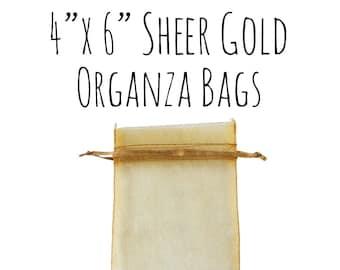 "10 or 25 Pack of 4 x 6"" Rectangle Sheer Metallic Gold Organza Bags, Gold Wedding Favor Bags, Sheer Drawstring Ribbon Bag, DIY Wedding Supply"