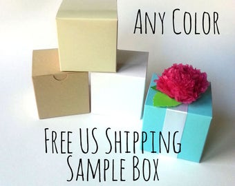 "FREE SHIPPING Sample Box Of Any 2x2x2"" or 3x3x3"" Box: Robin's Egg Blue, Silver, Ivory, White, Kraft, Navy, Fuschia, Brown, Clear, Black"