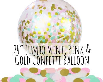 """Mint, Pink and Gold Confetti Balloon, 24"""" Big Balloon, Pink Tissue Paper Confetti Filled Balloon, Party Decoration, Wedding, Photo Prop"""