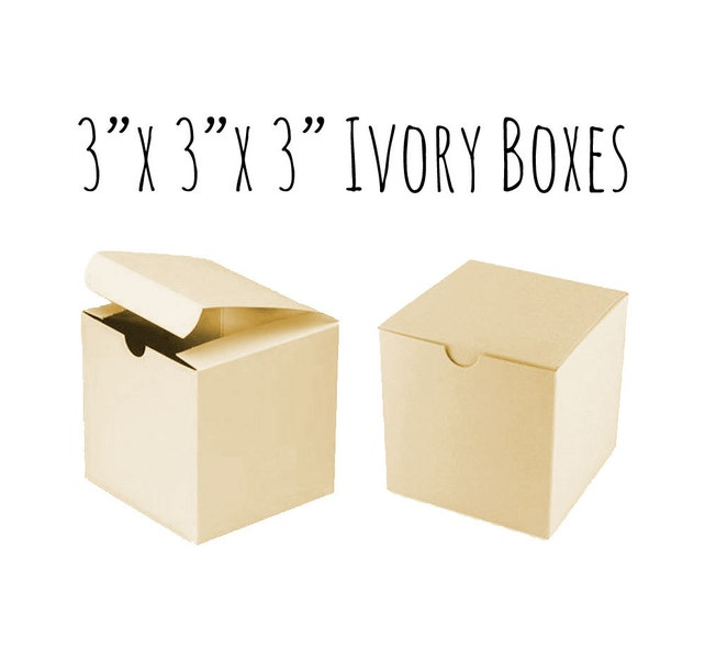 "Ivory Boxes 3 x 3 x 3"", Ecru, 5 To 20 Pack Of Wedding Favor Boxes, Gift Box, Cupcake Box/Candy Box-Smooth Ivory Cardboard Box, Wedding DIY"