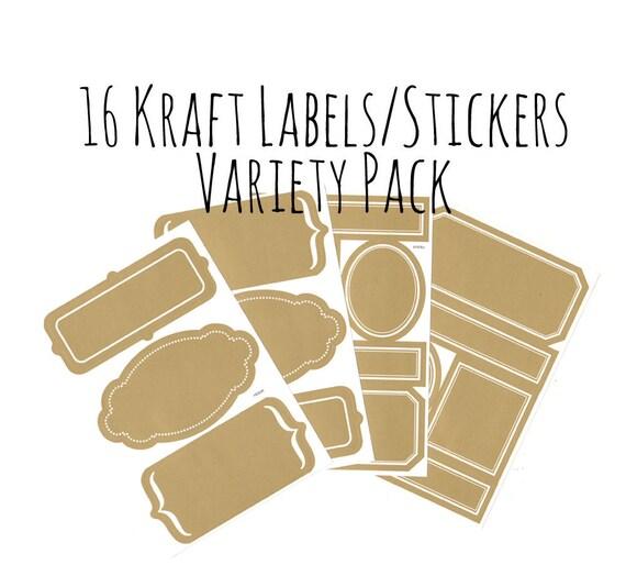 set of 16 kraft style labels stickers variety set blank kraft etsy