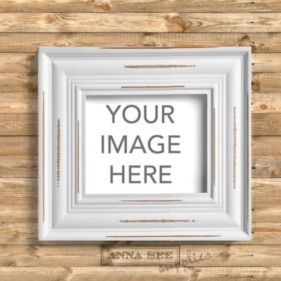 Blanco horizontal agobiados madera marco maqueta fondo madera   Etsy