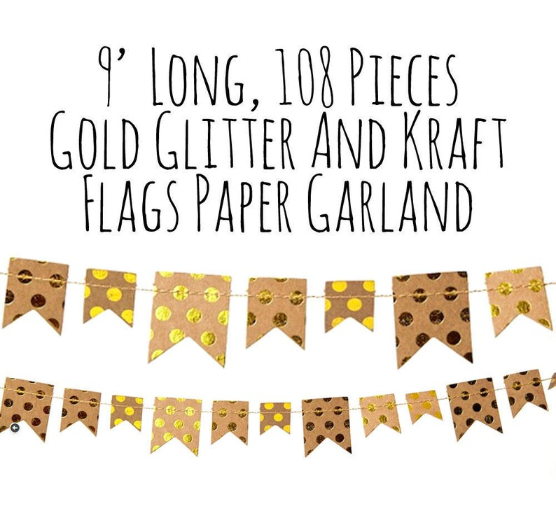 Gold and Kraft Bunting Banner decor wedding decoration Metallic Gold Polka Dots and Kraft Paper Flags Garland Backdrop party decorations