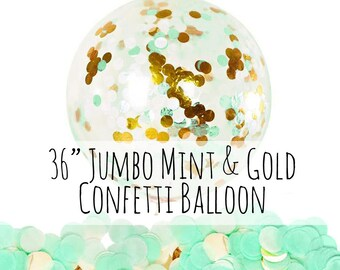 """Mint and Gold Confetti Balloon, 36"""" Extra Large Balloon, Mint Tissue Paper Confetti Filled Balloon, Party Decoration, Wedding, Photo Prop"""