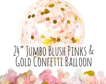 """24"""" Blush Pink and Gold Confetti Balloon, Big Clear Balloon, Tissue Paper Confetti Filled Balloon, Party Decoration, Wedding, Photo Prop"""