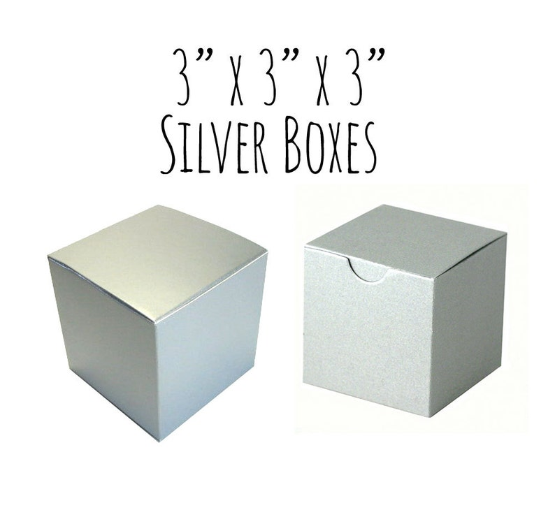 15fd0a44759 Silver Boxes 3 x 3 x 3 Square 100 Pack of Wedding Favor