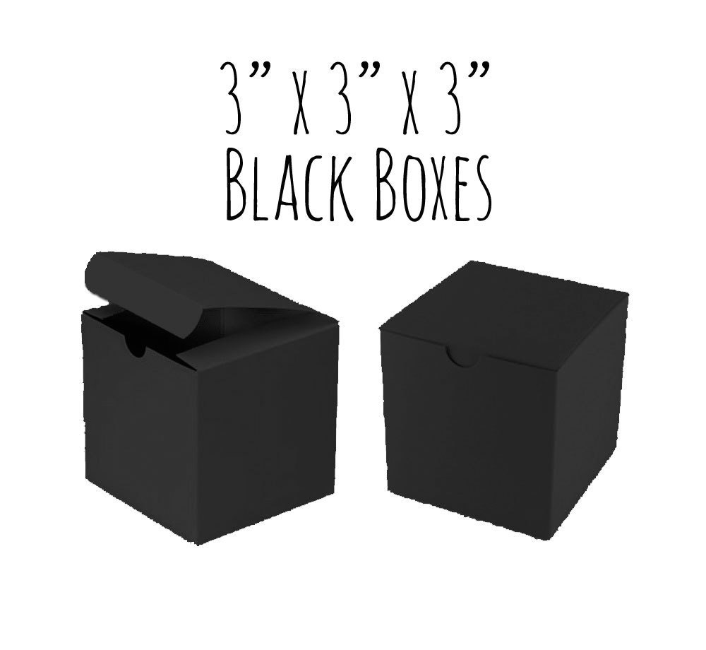 Black Boxes 3 x 3 x 3 Square 100 Pack of Wedding Favor