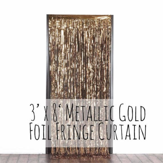 Metallic Rose Gold Fringe Door Curtain Champage