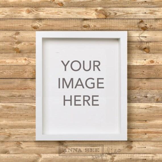 Maqueta de marco blanco vertical sobre fondo madera rústico   Etsy
