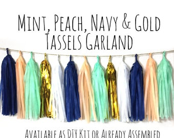 Mint, Peach, Navy and Gold Tassel Garland with Jute Twine, Peach and Gold Backdrop, Photo Prop, Party Decoration, Wall Decor, Birthday Decor