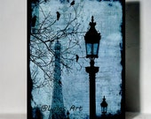 Unique Paris French Painting Art Eiffel Tower Home decor Wall Art Fine Arts Mix media Blue flying bird Shabby Chic Romantic City Painting