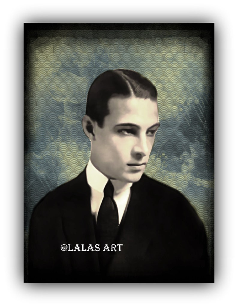 Italien American Actor Home decor Wall Hanging Silent movie star 1930s Painting 1920s Art Art deco Rudolph Valentino