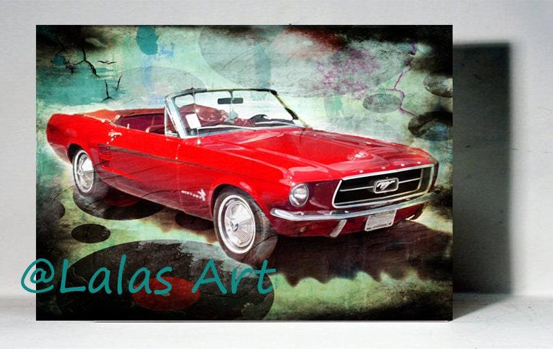 Vintage Retro estilo arte antiguo 1967 rojo Ford Mustang Auto | Etsy