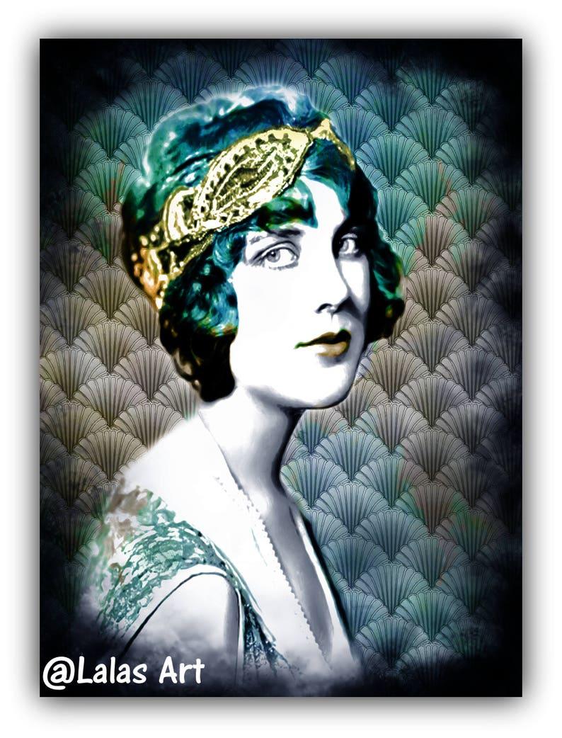 design distintivo marchi riconosciuti migliore online Art deco Vintage style Painting of Justine Johnson 1920s Retro art Flapper  girl Silent movie The great Gatsby Style Jazz age Home decor