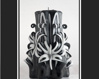 Carved Candles - Black candles - Black and white candles - Decorative candles