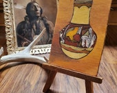 Vintage Native American Pottery, Indian Pottery, Oil On Canvas, Canvas Painting, Wall Art Decor, Home Decor, Western Decor