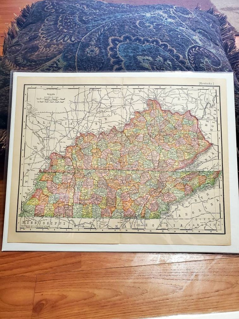 Antique Maps Victorian Collectible Maps Wall Decor Vintage 1903 Book Plate Map Kentucky State Map