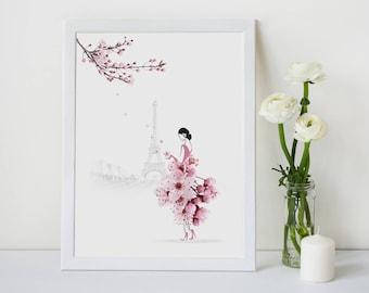 Paris Print, Cherry Blossom, Flower Illustration Print, Home Decor, Gift for Her, Flower Photography, Sassy Du Fleur, Wall Art, A4,A3,Print