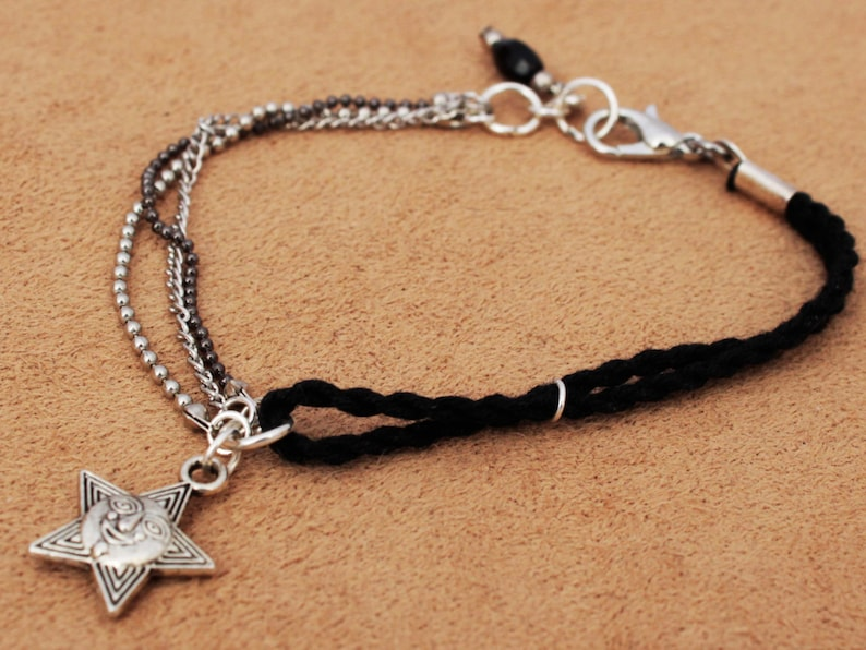 Black bracelet black rope