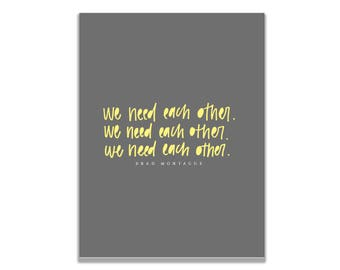 Brad Montague We Need Each Other Quote Galentine's Day Valentine's Day Greeting Card Women's Day Card Kid President Card