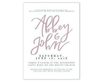 Simple Blush Wedding Invitation Suite Industrial Wedding Invitation Modern Wedding Invitation Hand Lettered Wedding Invitation Suite