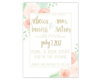 Bright Watercolor Floral Wreath Printed Wedding Invitation Suite Floral Wedding Invitations Classic Wedding Invitations Flower Invitation