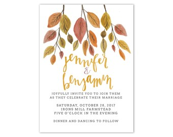 Fall Watercolor Autumn Leaves Printed Wedding Invitation Suite Watercolor Wedding Invitations Autumn Wedding Invitations Flower Invitation