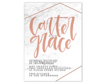 Copper and Marble Wedding Invitation Suite Industrial Wedding Invitation Modern Wedding Invitation Hand Lettered Wedding Invitation Suite