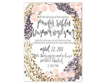 Watercolor Floral Wreath Printed Wedding Invitation Suite Floral Wedding Invitations Purple Wedding Invitations Wreath Wedding Invitation