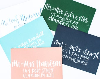 Watercolor Brush Lettered Envelopes Guest Addresses Wedding Envelopes Wedding Guest Addressing Envelopes Wedding Envelope Calligraphy