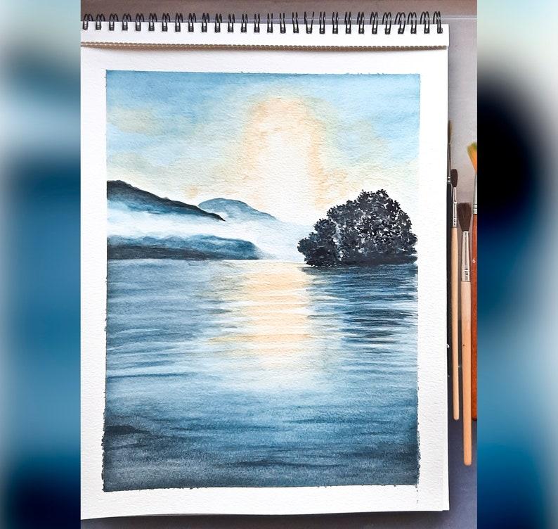 Original Seascape Watercolor Painting Golden Morning