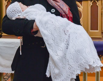 Handknitted Christening/Pabtismal gown, a real Heirloom