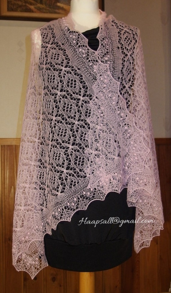 Hand Knitted Wedding Shawl Estonian Lace Haapsalu Shawl The Etsy