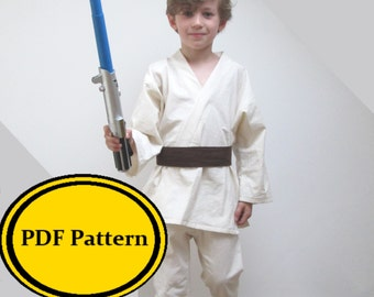 Jedi Costume Sewing Pattern Pdf - Star Wars Luke Skywalker Anakin Childrens Dress Up Digital Download Obi Wan Kenobi