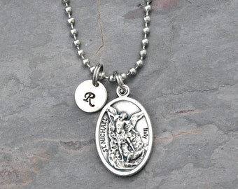 St michael necklace etsy popular items for st michael necklace aloadofball Choice Image