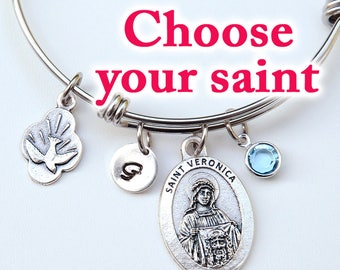 Confirmation Gift for Girls Teens or Women - Choose Your Catholic Saint - Personalized Expandable Stainless Steel Adjustable Bangle Bracelet